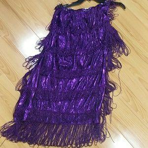 Metallic fringe one shoulder dress